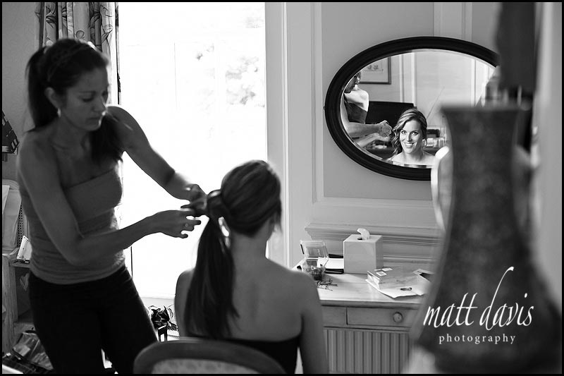 Bridesmaids hair being done in The Rectory Hotel bridal suite