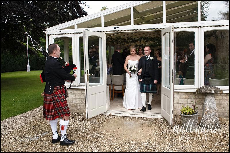 Bride and groom leave the wedding ceremony at The Rectory Hotel