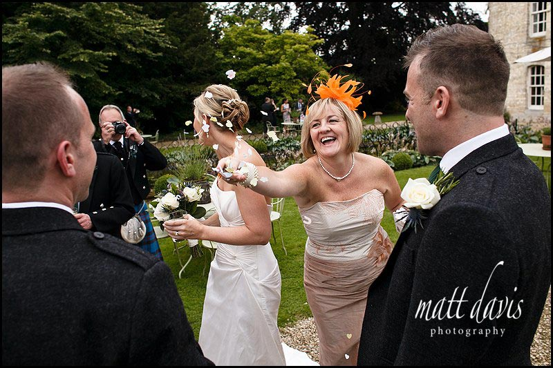 Confetti thrown at a wedding at The Rectory Hotel