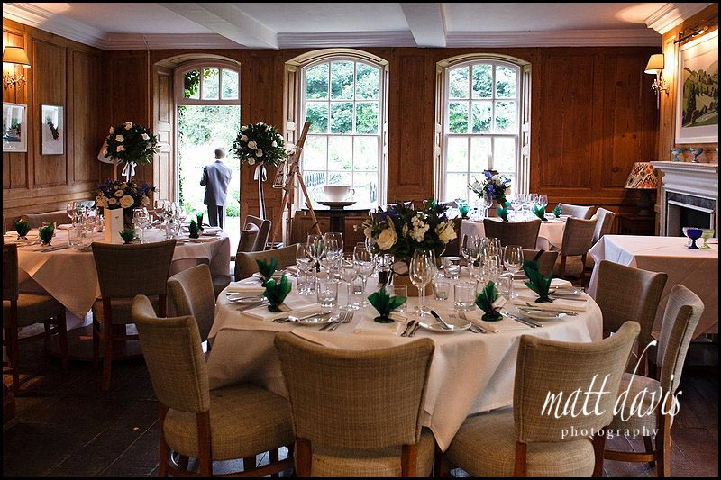 The wedding breakfast room at The Rectory Hotel