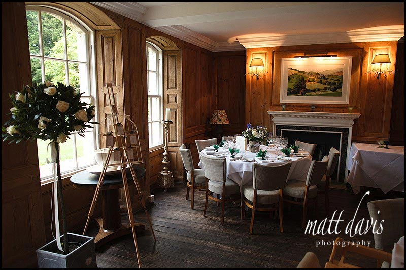 The wedding breakfast room at The Rectory Hotel, Wiltshire