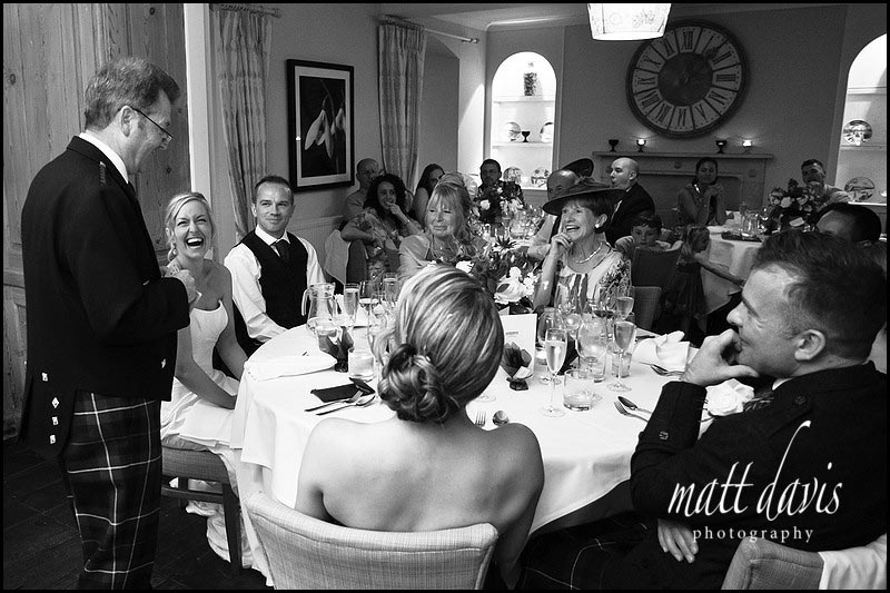 black and white wedding photo during speeches at The Rectory Hotel