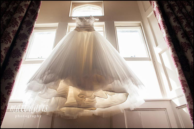 wedding dress with eight layers of sheer material