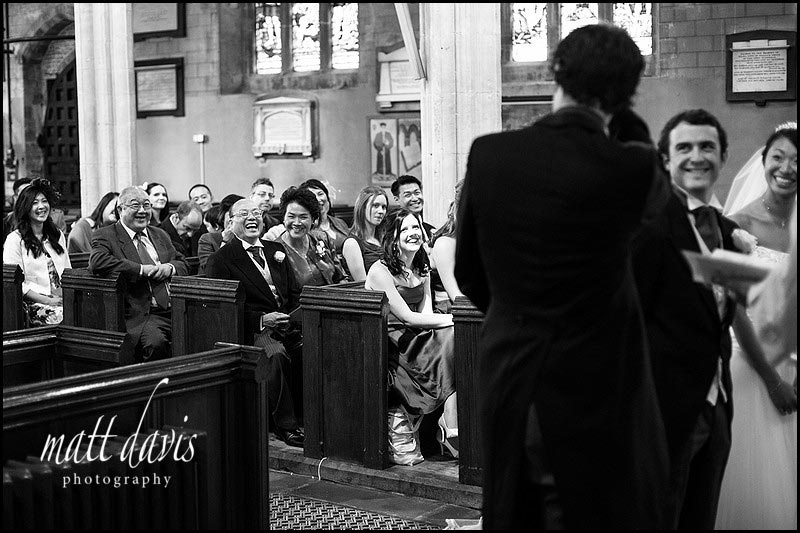 black & white wedding photos at Berkeley Church