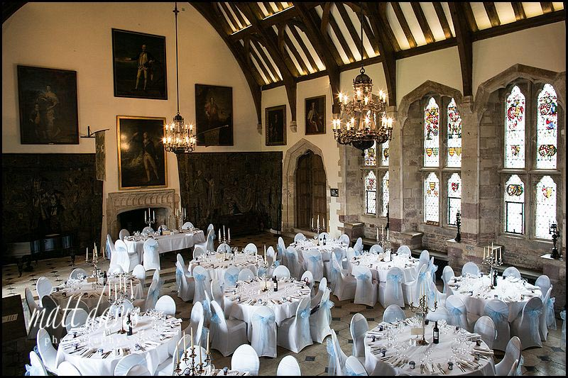 inside Berkeley Castle set for the wedding breakfast