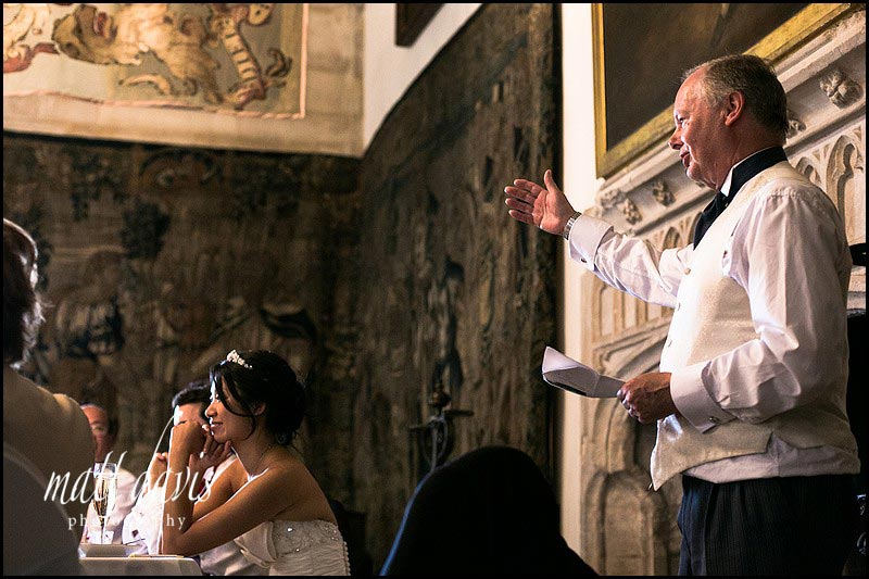 Berkeley Castle wedding speeches