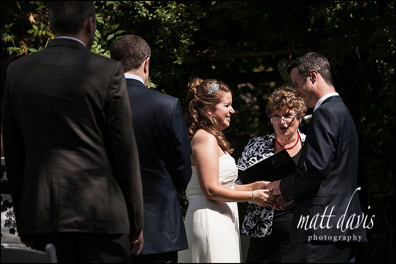 Outdoor wedding ceremony at Friars Court, Oxfordshire