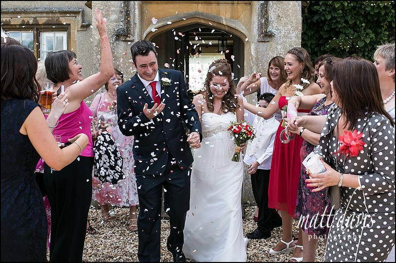confetti being thrown at friars court wedding