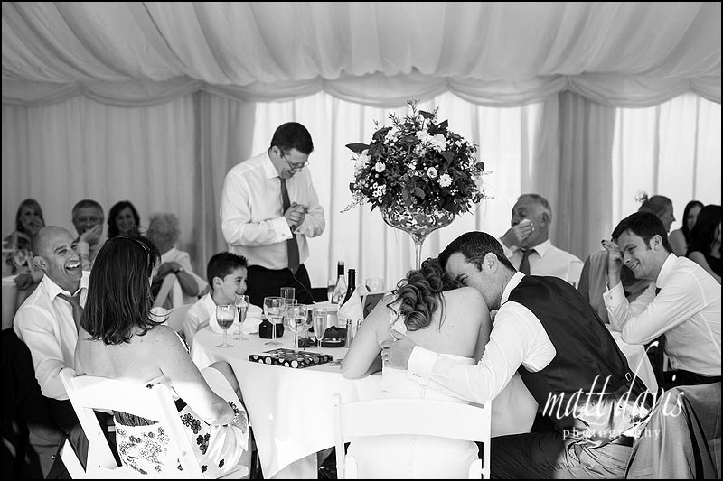 Black and white photo during speeches at Friars Court wedding