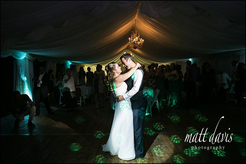 First dance wedding photo inside Friars Court Marquee