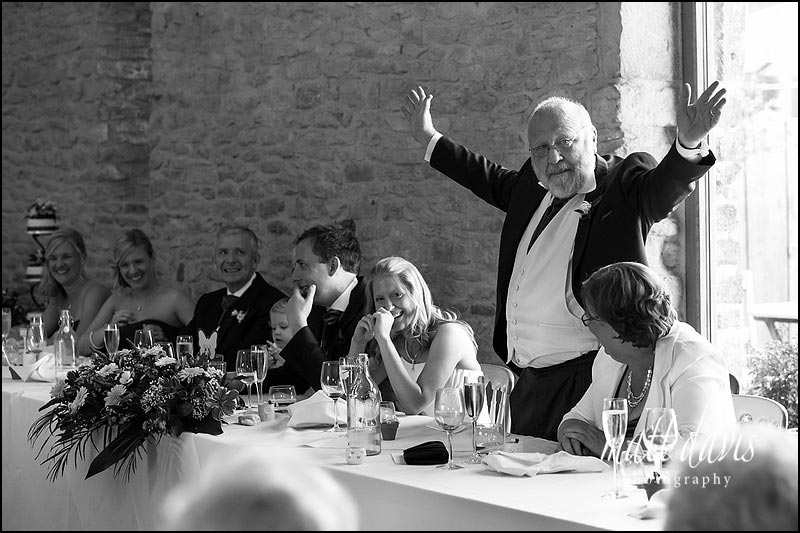 Kingscote Barn wedding photographs during speeches