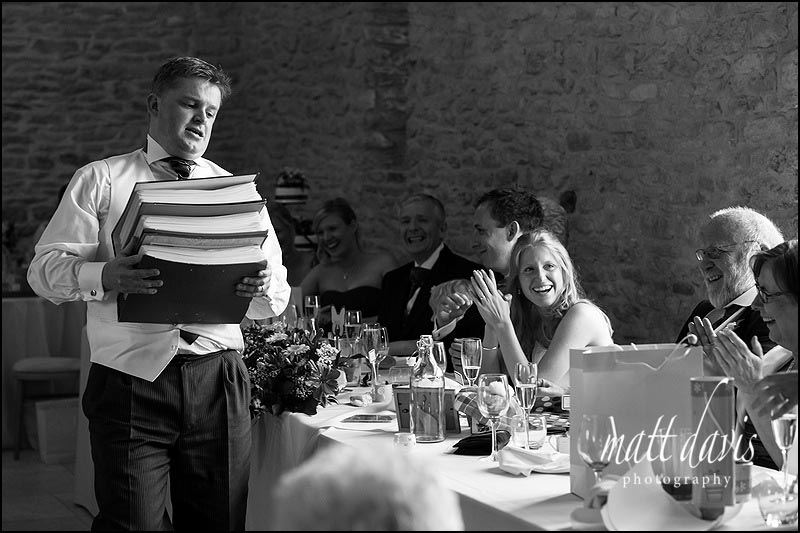 Documentary wedding photos during wedding speeches