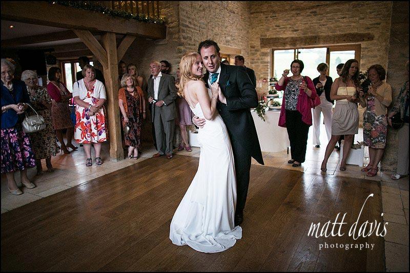 First dance wedding photo at Kingscote Barn