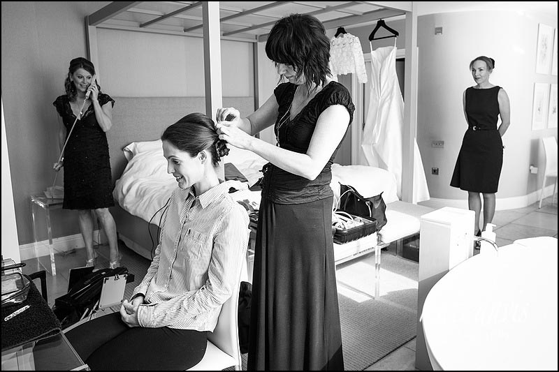 Bride getting ready for a wedding at Barnsley House rooms