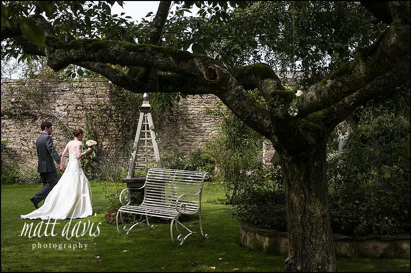bride and groom in Friars Court gardens after wedding ceremony