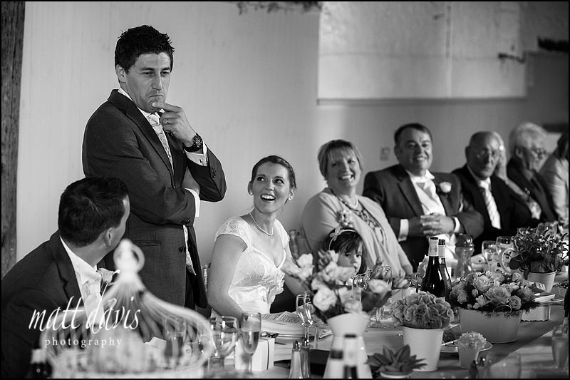 Grooms speech at a wedding at Friars Court