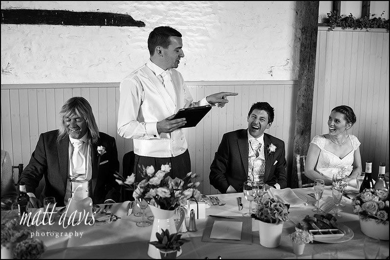 Great wedding speeches inside Friars Court barn