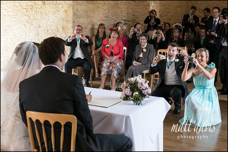 Documentary wedding photos at Kingscote Barn