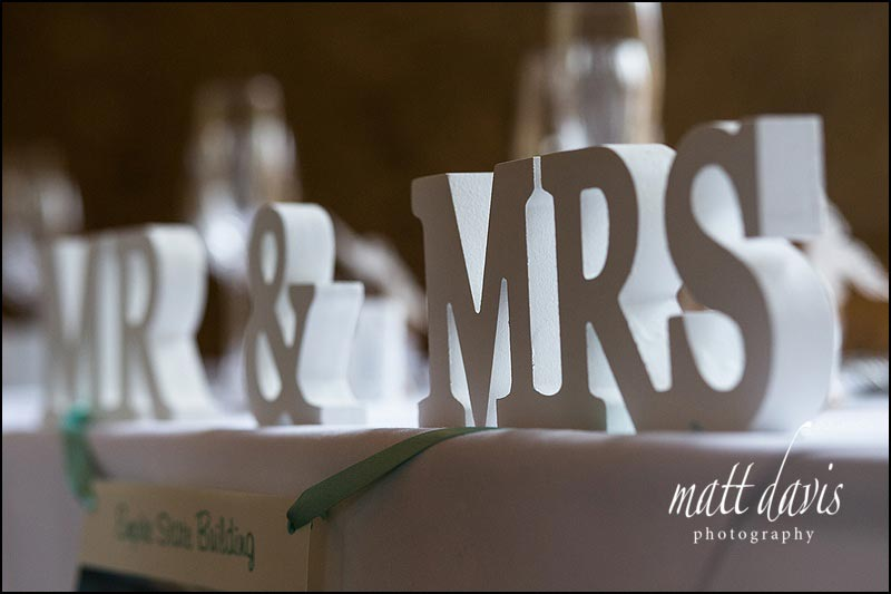 Mr & Mrs wedding table decorations