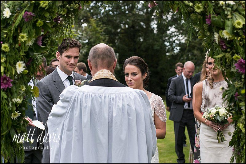 Wedding photography South Wales of outdoor wedding ceremony
