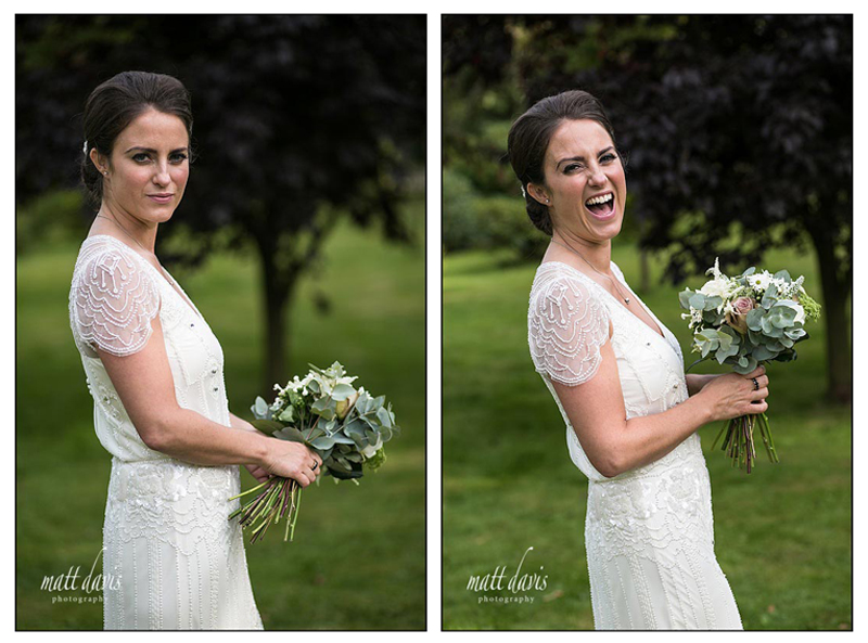 Informal wedding portraits of bride in South Wales