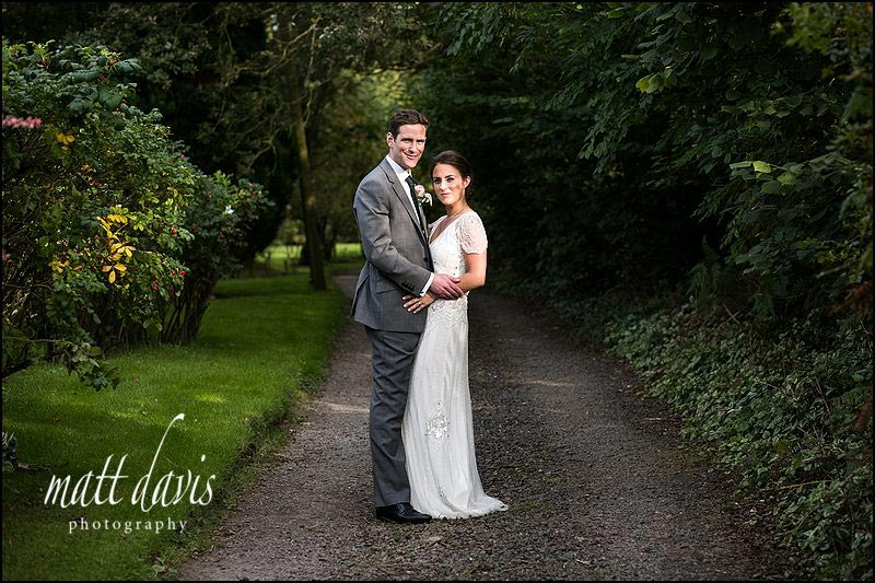 Bride with Jenny Packham dress on her wedding day