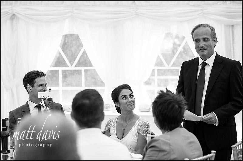 Wedding speech photos in black and white