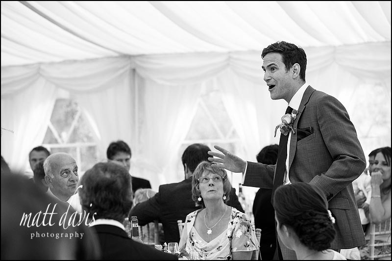 grooms wedding speech photo in black and white