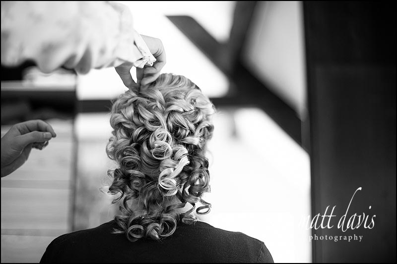 Brides wedding hair with tight curls