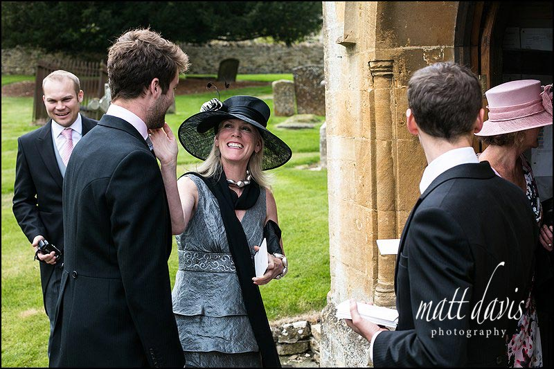 Wedding guests at Naunton Church