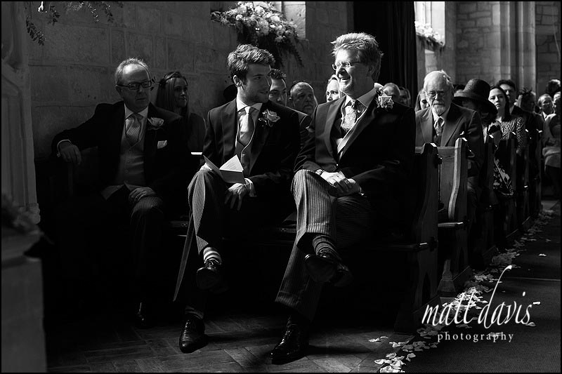 Black & white photo of Groom and best man before wedding ceremony