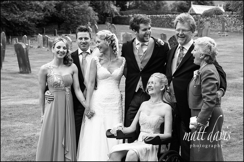 Informal group photo by Gloucestershire wedding photographer Matt Davis