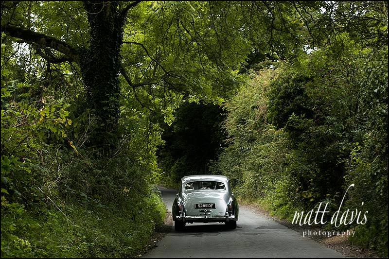 Wedding car in the Cotswolds, Gloucestershire countryside