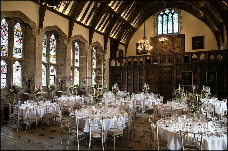 Inside Berkeley Castle, set ready for the wedding breakfast