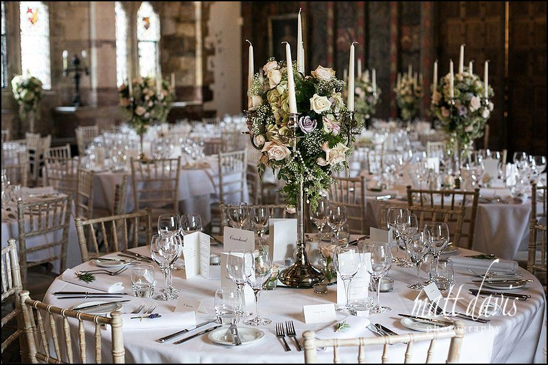Berkeley Castle wedding breakfast table layouts with candle arbors