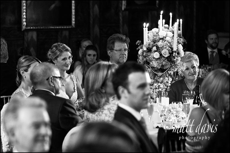 Candle lit wedding reception at Berkeley Castle