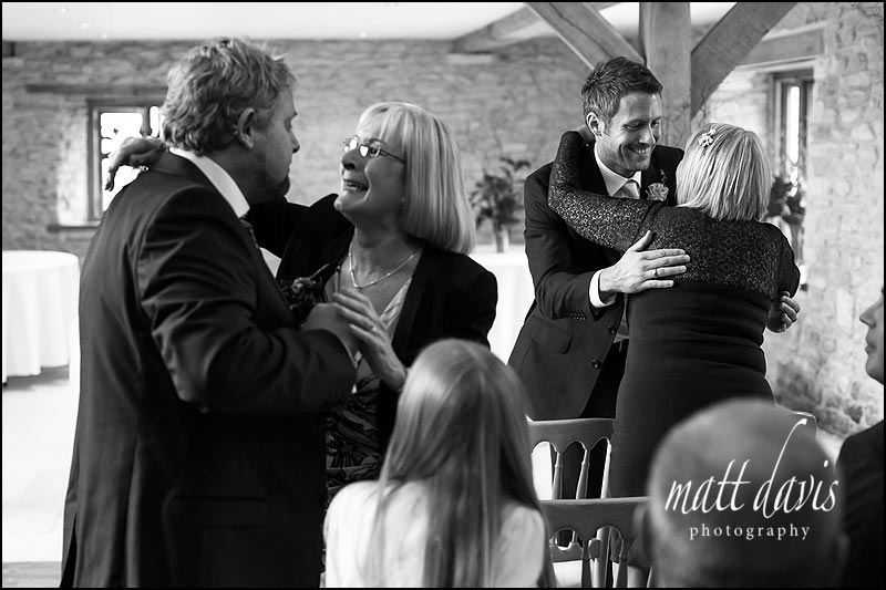 Black & White reportage wedding photos at Kingscote Barn