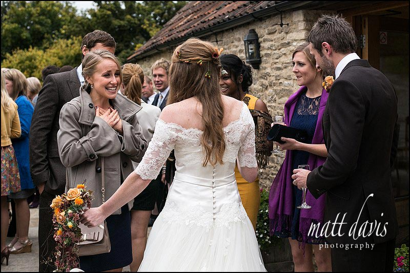 Emotional guests at a Kingscote Barn wedding