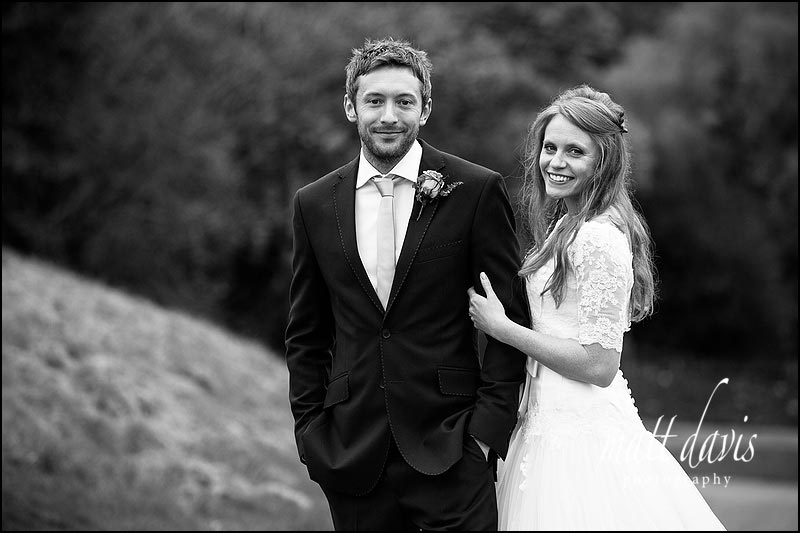 black and white Kingscote Barn wedding photography