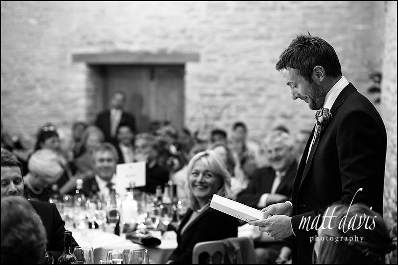 Grooms speech at Kingscote Barn wedding