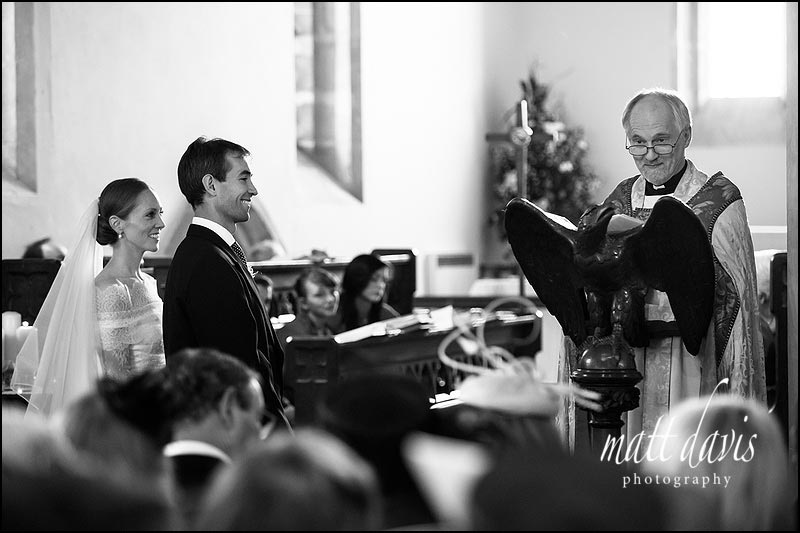 black and white wedding photos at a church in gloucestershire