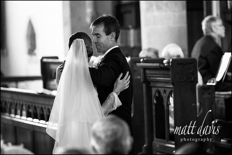 Stunning black and white wedding photos at a church in gloucestershire
