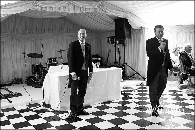 A wedding double act during speeches.