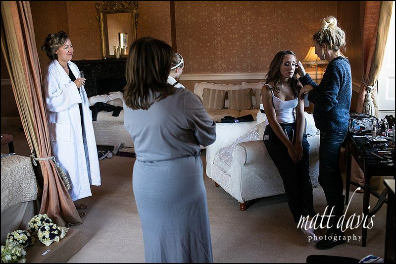 Clearwell Castle wedding photos during bridal preps