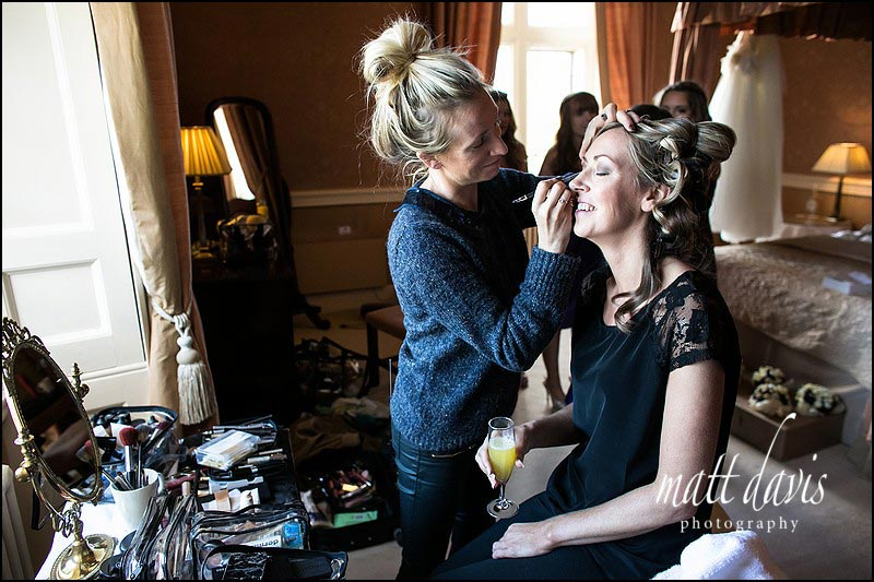 Clearwell Castle wedding photography during bridal preps