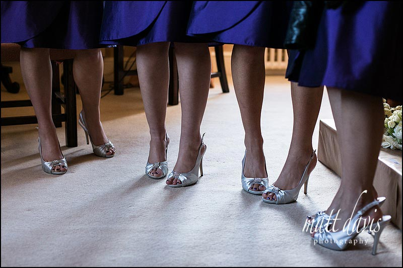 silver bridesmaid shoes and purple bridesmaid dresses