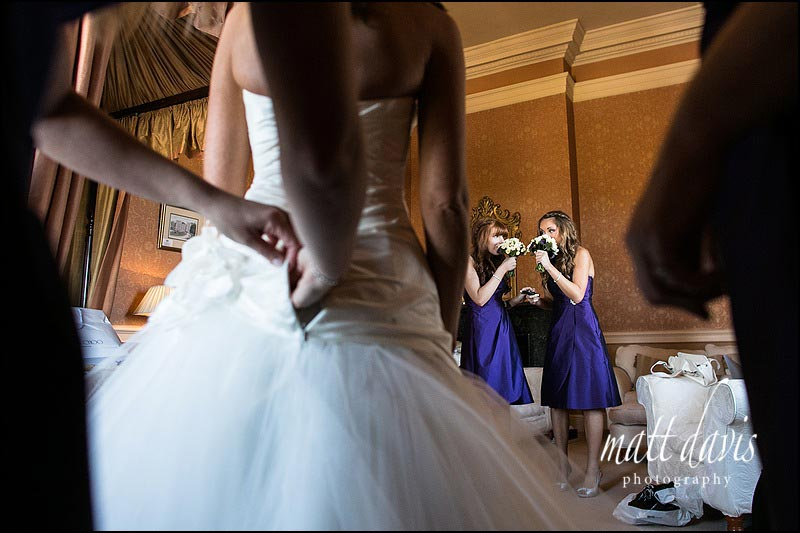 Clearwell Castle wedding photography of bridesmaids during bridal preps