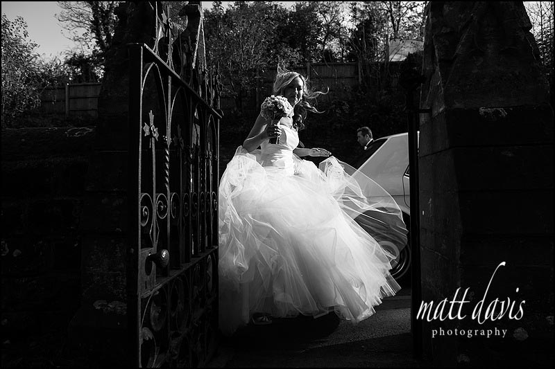 bride arriving at St Peter's church, Clearwell, Gloucestershire