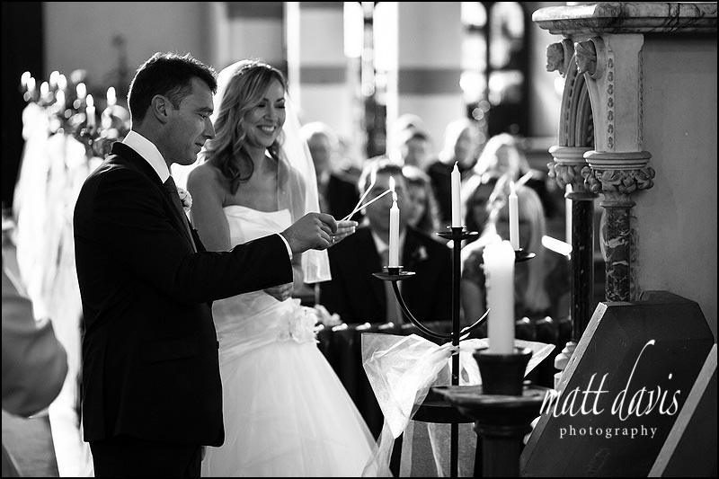 Photos of wedding ceremony inside St Peter's church, Clearwell, Gloucestershire