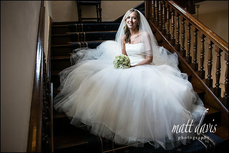 classic wedding photo of bride at Clearwell Castle